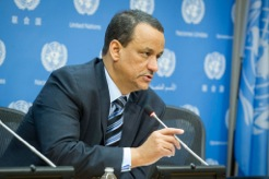 U.N. Special Envoy of the Secretary-General for Yemen, Ismail Ould Cheikh Ahmed, briefs the media. UN Photo/Loey Felipe