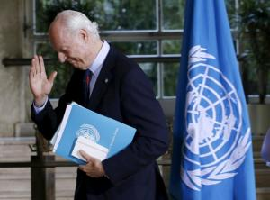 U.N. mediator Staffan de Mistura leaves a news conference after a meeting with the High Negotiations Committee (HNC) during Syria peace talks at the United Nations in Geneva, Switzerland, April 18, 2016. REUTERS/Denis Balibouse