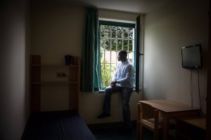Harry Sarfo, a former ISIS fighter from Germany, inside the maximum-security prison in Bremen where he is serving a three-year sentence on terrorism charges.