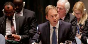 Tobias Ellwood, United Kingdom parliamentary Under Secretary of State speaks during a U.N. Security Council meeting, Friday, Sept. 19, 2014, at the United Nations Headquarters. The Security Council met to discuss the situation of The Islamic State group in Iraq. (AP Photo/Julie Jacobson)