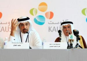 Khalid A. Al-Falih (L) and Ali al-Naimi attend a news conference at the opening ceremony of the King Abdullah University of Science and Technology (KAUST) in Jeddah