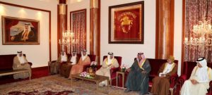 Bahrain's King Hamad Bin Isa Al-Khalifa receives speakers of the consultative assemblies of the Gulf Cooperation Council states in Manama on Thursday. — BNA