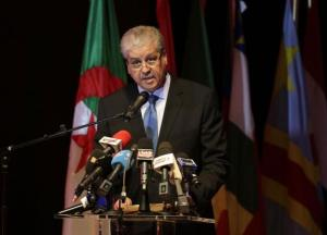 Algeria's Prime Minister Abdelmalek Sellal speaks during the opening ceremony of the African Conference on Green Economy in Oran February 22, 2014. Algerian President Abdelaziz Bouteflika, the aging independence veteran who suffered a stroke last year, will run for re-election on April 17, Sellal said on Saturday, a vote likely to hand him a fourth term in power. REUTERS/Louafi Larbi (ALGERIA - Tags: POLITICS ELECTIONS)