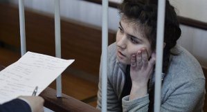Varvara Karaulova pictured in a military court in Moscow as she is accused of trying to join ISIS