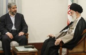 Iran's Supreme Leader Ayatollah Ali Khamenei (R) speaks with Hamas leader Khaled Mashaal during a meeting in Tehran May 27, 2008.