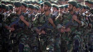 Members of Iran's Revolutionary Guards march during a military parade to commemorate the 1980-88 Iran-Iraq war in Tehra
