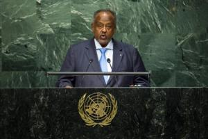 Republic of Djibouti President Guelleh addresses attendees during the 70th session of the United Nations General Assembly at the U.N. Headquarters in New York