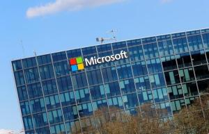 The logo of Microsoft company is seen in Paris