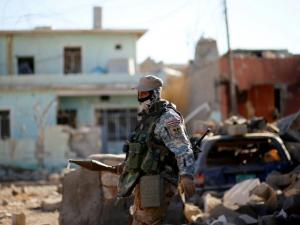 A member of the Iraqi security forces fighting ISIS militants near Mosul, Iraq