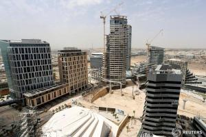 View shows the construction of the King Abdullah Financial District in Riyadh