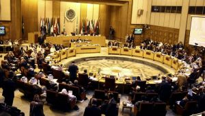 Arab foreign ministers meet at the Arab League building in Cairo, Egypt, July 2014.