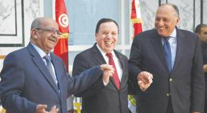 Three foreign ministers, Tunisia's Khemaies Jihnaoui, Egypt's Sameh Shoukry and Algeria's Minister of Maghreb Affairs, African Union and Arab League Abdelkader Messahel