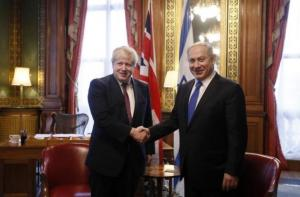 Britain's Foreign Secretary Boris Johnson (L) greets Israel's Prime Minister Benjamin Netanyahu at the Foreign Office in London, February 6, 2017. REUTERS/Kirsty Wigglesworth/Pool