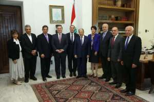 President Michel Aoun meets with a Delegation From Task Force For Lebanon at the Presidential Palace, April 24, 2017