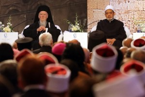 The Grand Imam of Al Azhar, Ahmed Al Tayyeb, right, and the Archbishop of Constantinople, Patriarch Bartholomew I, at the opening of the Al Azhar International Peace Conference in Cairo.