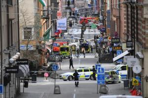 A view of the street scene after people were killed when a truck crashed into a department store Ahlens, in central Stockholm