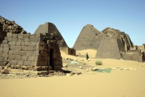 One of the world's oldest pyramids in Meroe, Sudan. The pyramid peaks were destroyed by Italian bounty hunters