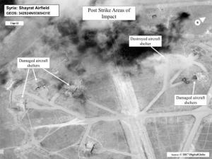 Battle damage assessment image of Shayrat Airfield Syria in DigitalGlobe satellite image