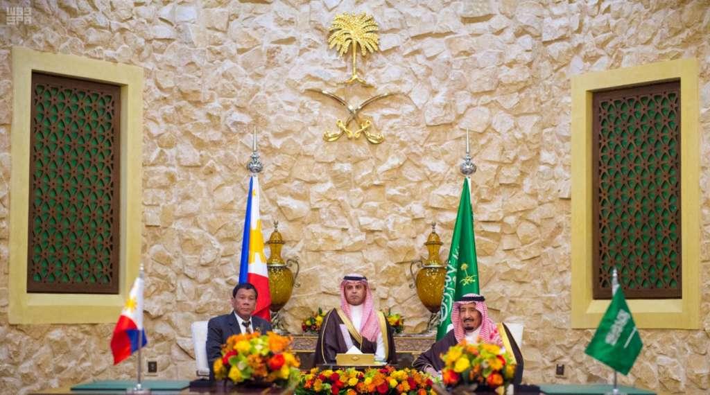 King Salman Holds Talks with President of Philippines at Rawdhat Khuraim