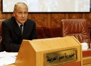 Egypt's Foreign Minister Ahmed Aboul Gheit attends an emergency Arab League meeting on Libya, in Cairo