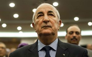 A picture taken on February 2, 2016 shows Abdelmadjid Tebboune during a meeting of the National Liberation Front (FLN) in Algeria