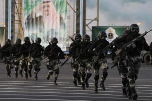 Members of the Saudi security forces take part in a military parade in Mecca