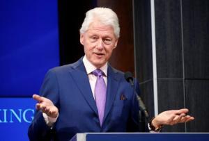 Bill Clinton speaks at a forum about a book on Yitzhak Rabin in Washington