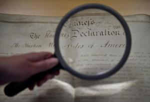 A rare handwritten copy of the US Declaration of Independence is seen at the West Sussex Record Office in Chichester in south England
