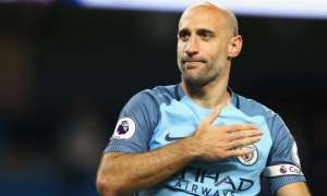 Pablo Zabaleta had an instant and easy affinity with the Manchester City fans who showed their appreciation for a departing legend after his final home match against West Brom. Photograph: Clive Mason/Getty Images