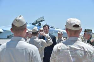 Bashar al-Assad in Hmeimim Air Base.