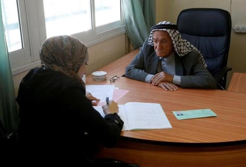 Palestinian Elderly Sits for High School Exams