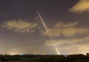 A rocket is launched from the northern Gaza Strip towards Israel.