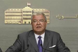 Lebanese Interior Minister Nouhad Machnouk speaks during a news conference at the government palace in Beirut, Lebanon.