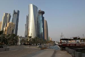 View shows buildings at the Doha Cornich