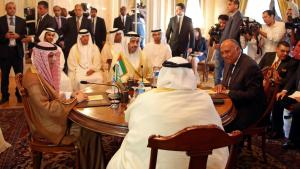 The anti-terror quartet: (Seated from left to right) Saudi Foreign Minister Adel al-Jubeir, United Arab Emirates Foreign Minister Abdullah bin Zayed al-Nahyan, Egyptian Foreign Minister Sameh Shoukry, and Bahraini Foreign Minister Khalid bin Ahmed al-Khalifa meet in Cairo, Egypt