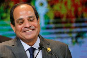 Egyptian President Sisi reacts as he delivers his speech during the closing session of Egypt Economic Development Conference (EEDC) in Sharm el-Sheikh, in the South Sinai