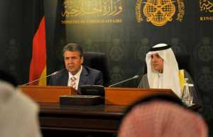 Foreign Minister Adel Al-Jubeir and his German counterpart Sigmar Gabriel address a press conference in Jeddah on Monday.