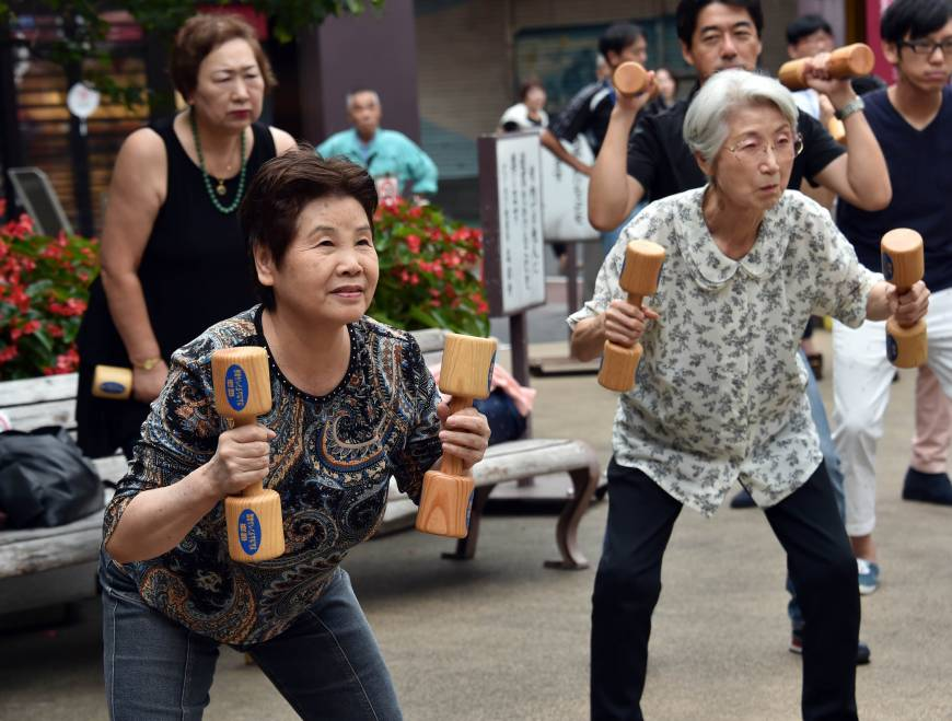 Japan Elderly Fight Aging with Fitness