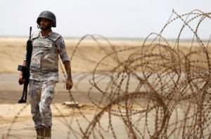 Saudi border guard patrols Saudi Arabia's maritime border with Yemen along beach on Red Sea, near Jizan
