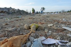 Houses became rubbles due to the occurrence of liquefaction