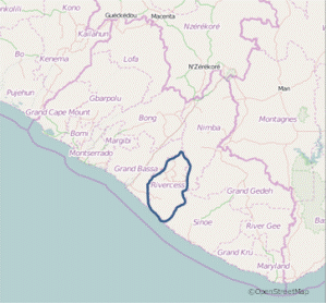 A map of Liberia: Rivercess County enclosed by the blue line