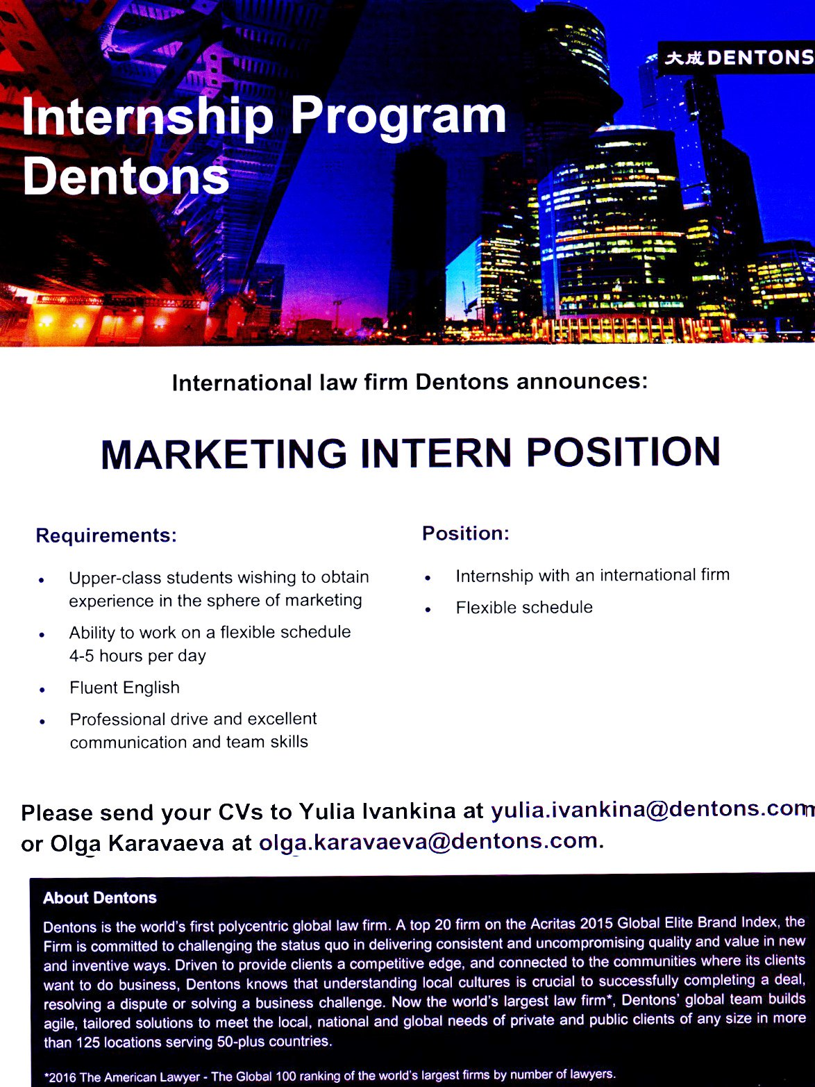 Marketing Intern Position Was Opened At Dentons. Please, See The Description  Below