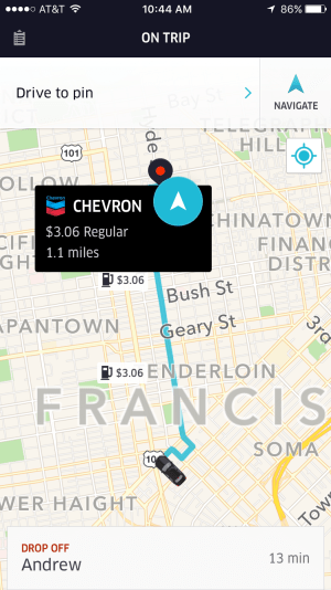 Uber driver app map view