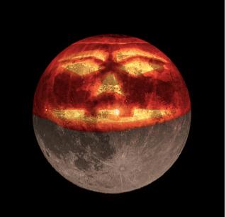 moon + jack o'lantern