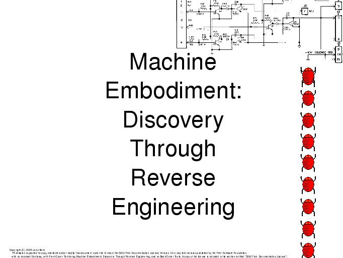 Machine Embodiment: Discovery Through Reverse Engineering