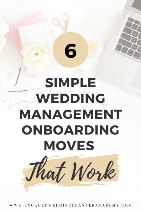 If you're confused on what you should be sending a wedding management client when they book. Here are 6 simple wedding management onboarding ideas. | Create a Wedding Planner Workflow, event manager performance goals examples, event planning course, Honeybook, Simple Wedding Management Onboarding, Wedding Client Workflow, wedding planner business, wedding planner workflow, Workflow, workflow for wedding planner