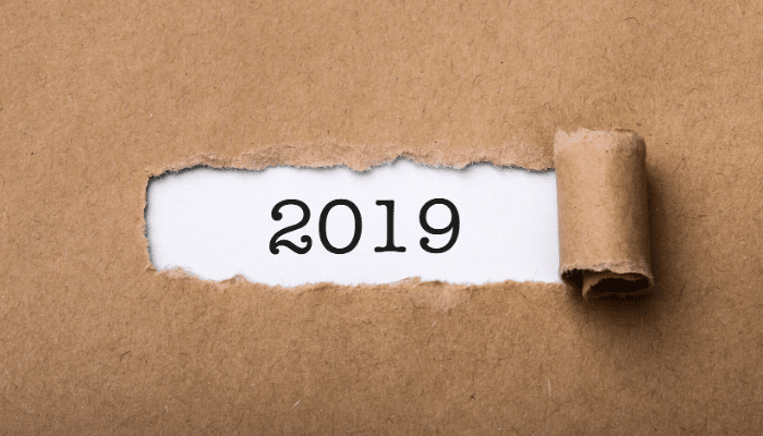 view of 2019 through butcher paper