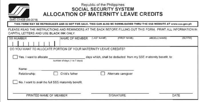 Allocation of Maternity Leave Credits Form