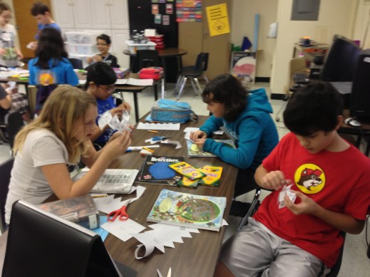 """During one presentation of a Genius Hour project, the presenters got the whole class involved in making """"Tumbling Tetrahedra."""""""