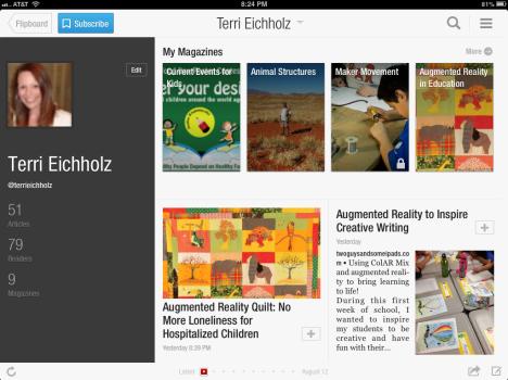 screenshot of some of my Flipboard magazines